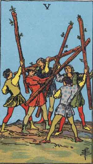 タロット・ワンド5|カードの意味と解説