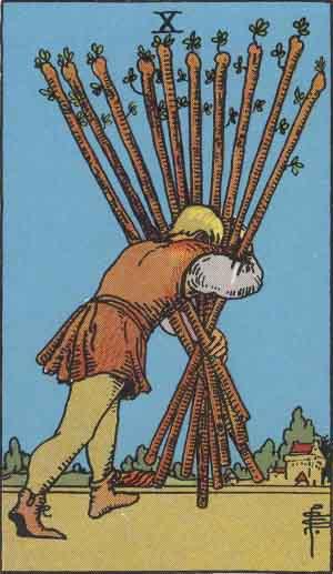 タロット・ワンド10|カードの意味と解説