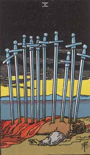 タロット・ソード10|カードの意味と解説