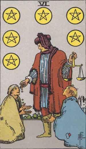 タロット・ペンタクル6|カードの意味と解説