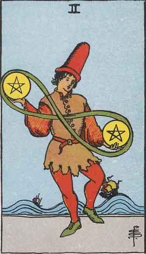 タロット・ペンタクル2|カードの意味と解説