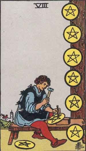 タロット・ペンタクル8|カードの意味と解説