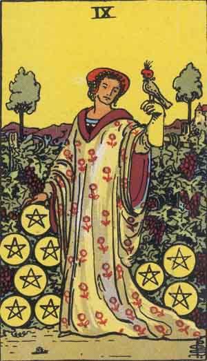 タロット・ペンタクル9|カードの意味と解説